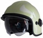 Zásahová přilba Calisia typ AK/10 včetně brýlí - světle zelená - zlatý štít