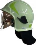 Zásahová přilba Kalisz Vulcan včetně brýlí - světle zelená - zlatý štít - fotoluminiscenční